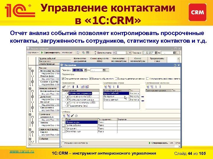 Управление контактами в « 1 С: CRM» Отчет анализ событий позволяет контролировать просроченные контакты,