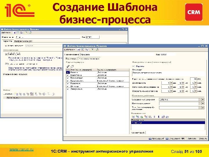 Создание Шаблона бизнес-процесса www. rarus. ru 1 С: CRM – инструмент антикризисного управления Слайд