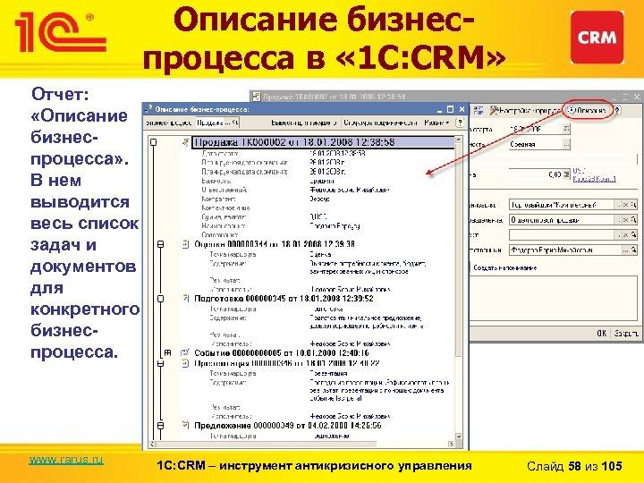 Описание бизнеспроцесса в « 1 С: CRM» Отчет: «Описание бизнеспроцесса» . В нем выводится