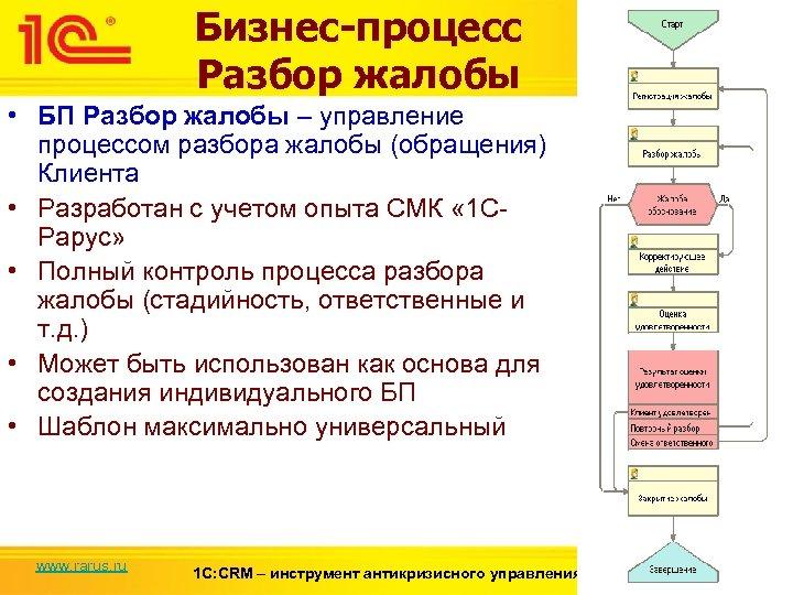 Бизнес-процесс Разбор жалобы • БП Разбор жалобы – управление процессом разбора жалобы (обращения) Клиента