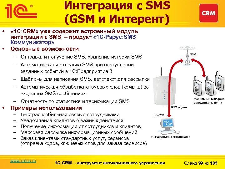 Интеграция с SMS (GSM и Интерент) • • « 1 С: CRM» уже содержит