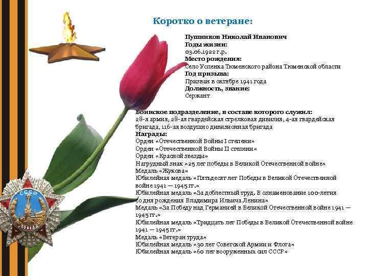 Коротко о ветеране: Пушников Николай Иванович Годы жизни: 03. 06. 1922 г. р. Место