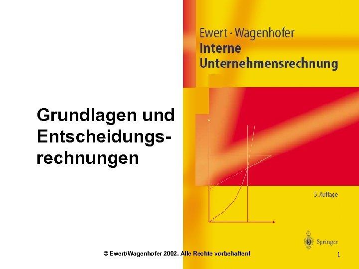 Grundlagen und Entscheidungsrechnungen © Ewert/Wagenhofer 2002. Alle Rechte vorbehalten! 1