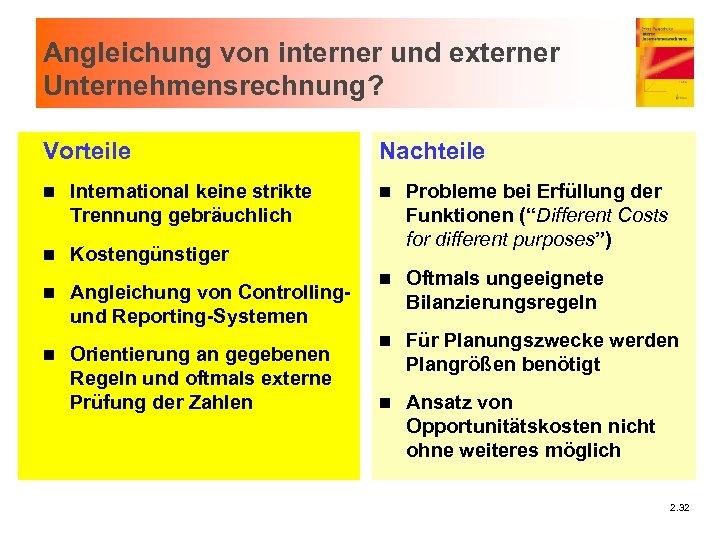 Angleichung von interner und externer Unternehmensrechnung? Vorteile n International keine strikte Trennung gebräuchlich n