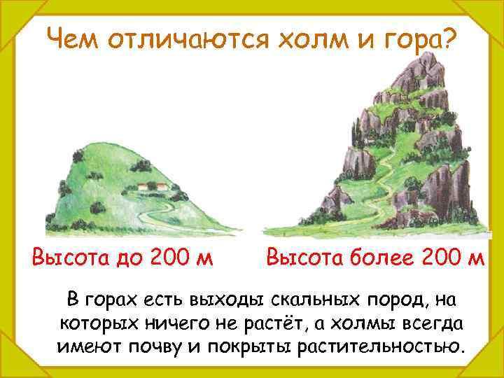 Чем отличаются холм и гора? Высота до 200 м Высота более 200 м В