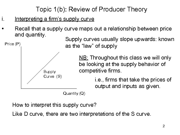 Topic 1(b): Review of Producer Theory i. • Interpreting a firm's supply curve Recall