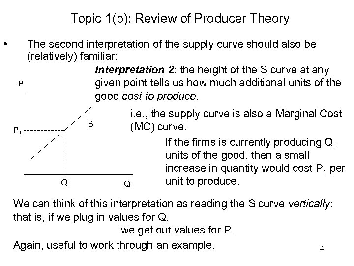 Topic 1(b): Review of Producer Theory • P The second interpretation of the supply
