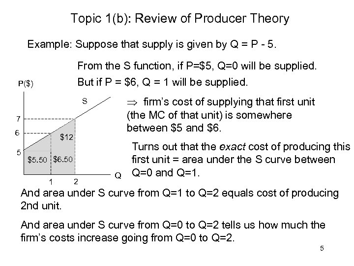 Topic 1(b): Review of Producer Theory Example: Suppose that supply is given by Q