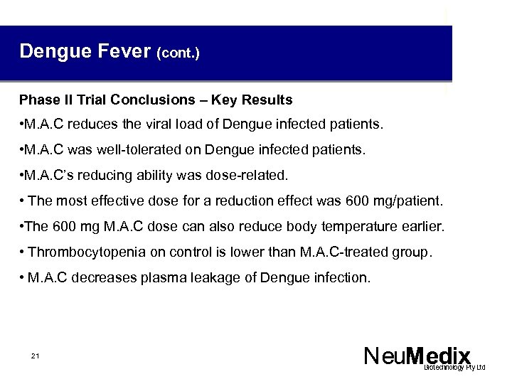 Dengue Fever (cont. ) Phase II Trial Conclusions – Key Results • M. A.