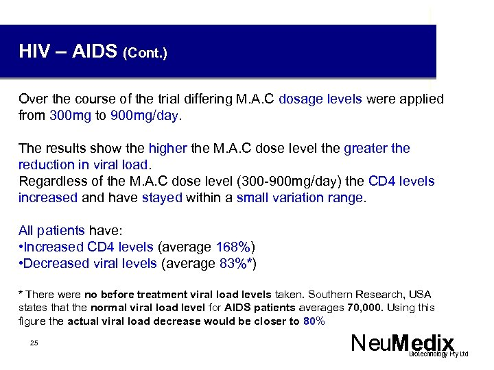 HIV – AIDS (Cont. ) Over the course of the trial differing M. A.