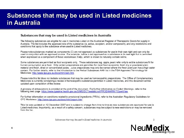 Substances that may be used in Listed medicines in Australia 4