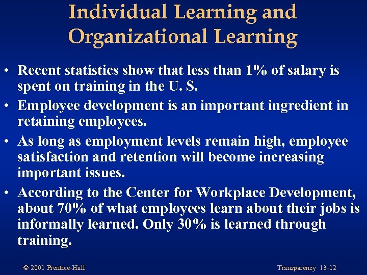 Individual Learning and Organizational Learning • Recent statistics show that less than 1% of