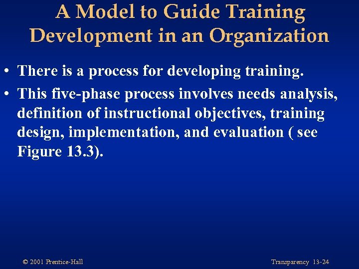 A Model to Guide Training Development in an Organization • There is a process