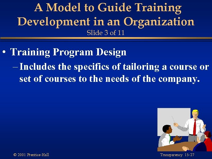 A Model to Guide Training Development in an Organization Slide 3 of 11 •