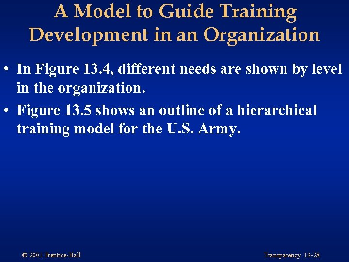 A Model to Guide Training Development in an Organization • In Figure 13. 4,