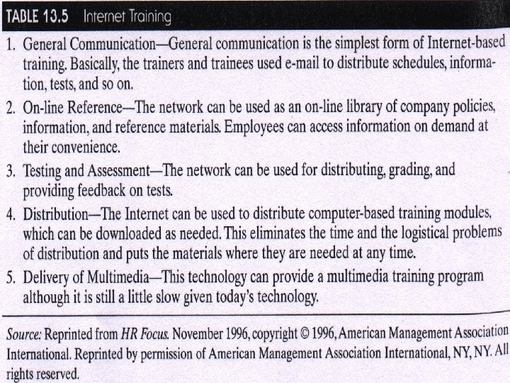 Training Tools • Table 13. 5 Internet training © 2001 Prentice-Hall Transparency 13 -52