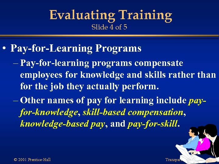 Evaluating Training Slide 4 of 5 • Pay-for-Learning Programs – Pay-for-learning programs compensate employees