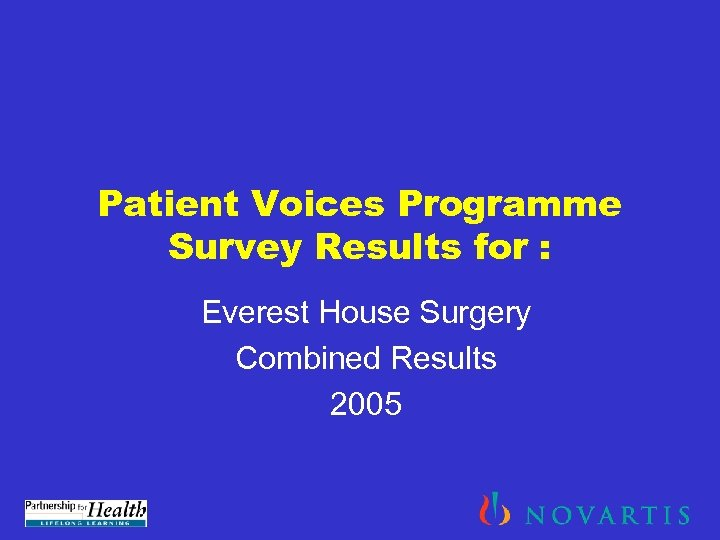 Patient Voices Programme Survey Results for : Everest House Surgery Combined Results 2005