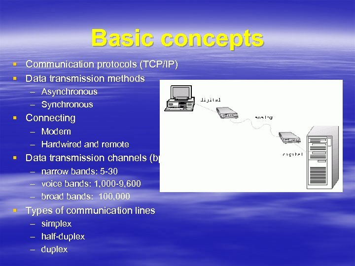Basic concepts § Communication protocols (TCP/IP) § Data transmission methods – Asynchronous – Synchronous