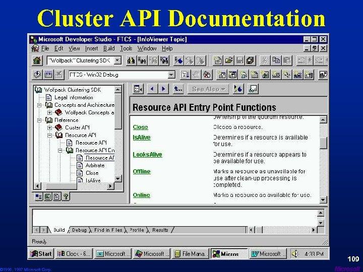 Cluster API Documentation © 1996, 1997 Microsoft Corp. 109