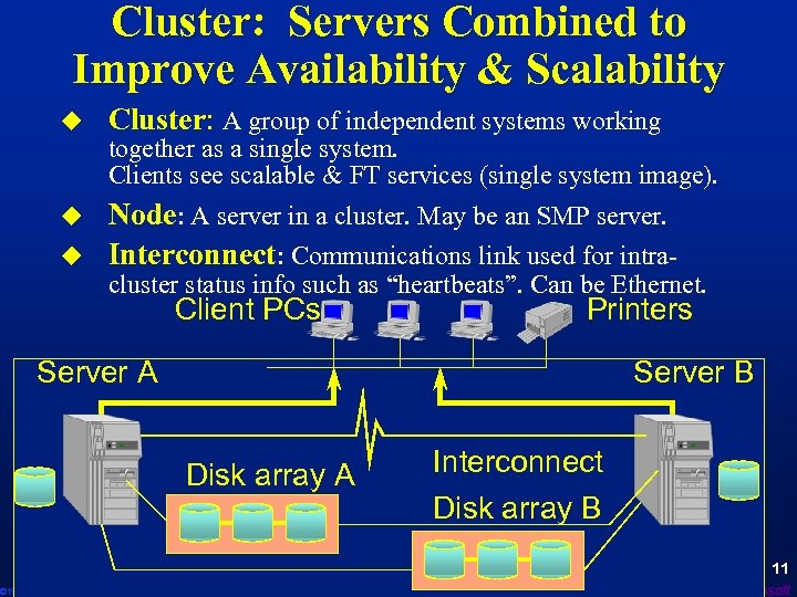 Cluster: Servers Combined to Improve Availability & Scalability u Cluster: A group of independent