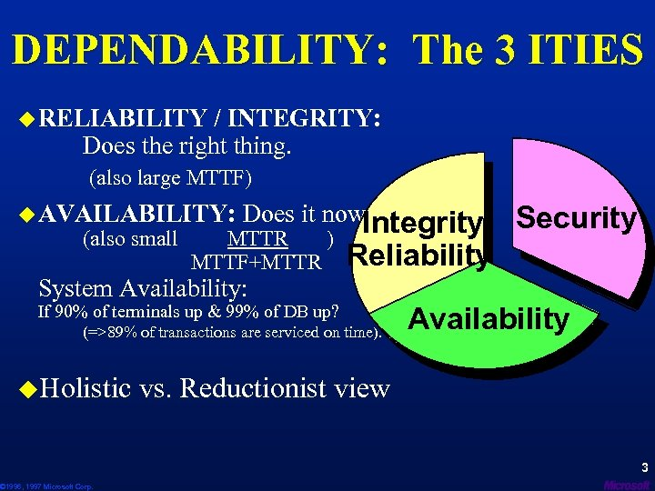 DEPENDABILITY: The 3 ITIES u RELIABILITY / INTEGRITY: Does the right thing. (also large