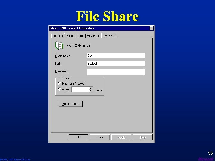 © 1996, 1997 Microsoft Corp. File Share 35