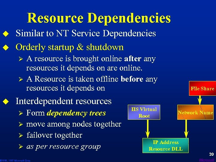 Resource Dependencies u u Similar to NT Service Dependencies Orderly startup & shutdown Ø