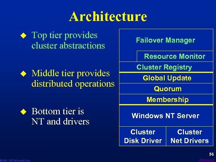 Architecture Top tier provides cluster abstractions Failover Manager u Middle tier provides distributed operations