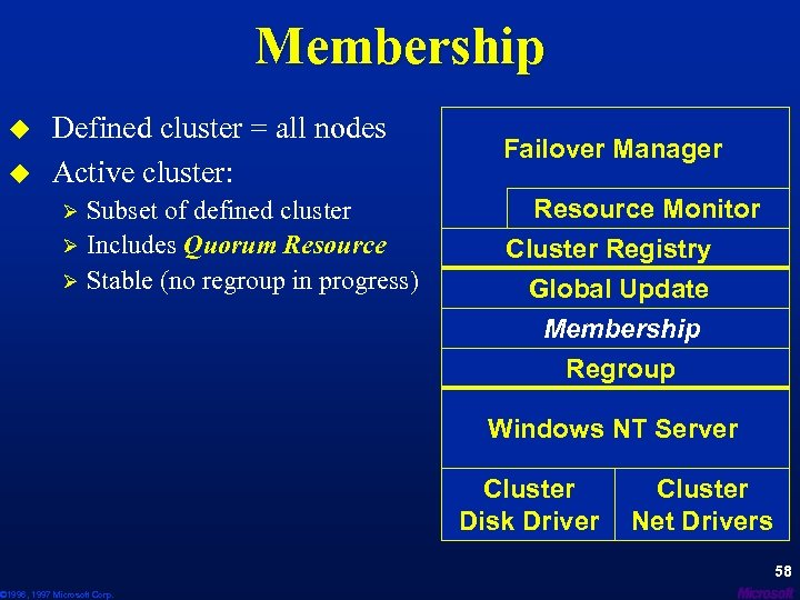Membership u u Defined cluster = all nodes Active cluster: Ø Ø Ø Subset