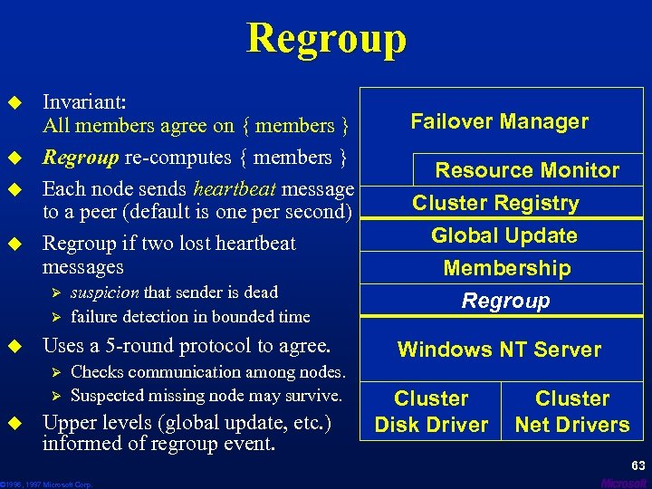 Regroup u u Invariant: All members agree on { members } Regroup re-computes {