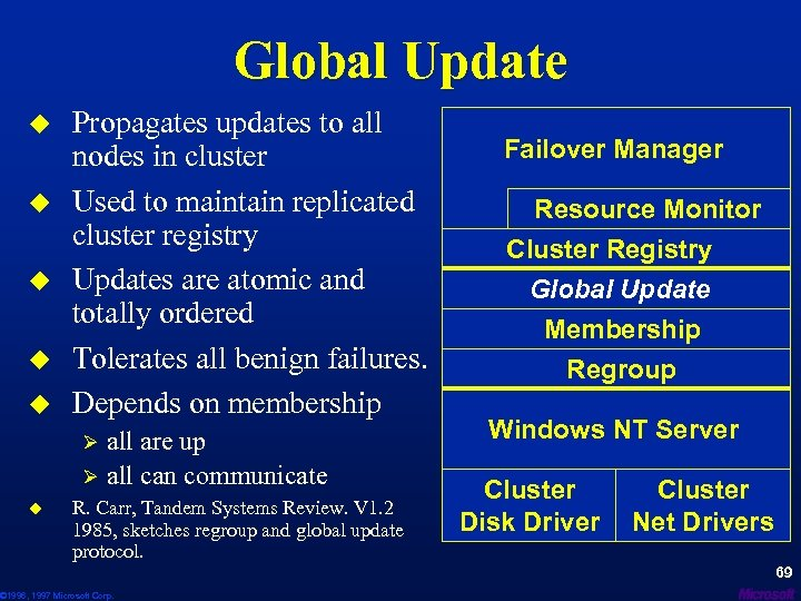 Global Update u u u Propagates updates to all nodes in cluster Used to