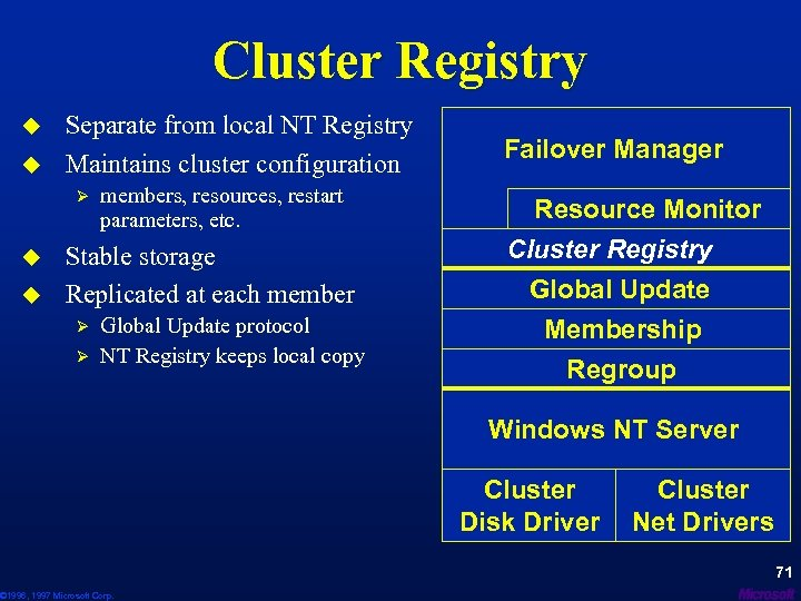 Cluster Registry u u Separate from local NT Registry Maintains cluster configuration Ø u