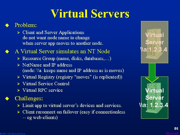 Virtual Servers u Problem: Ø u A Virtual Server simulates an NT Node Ø