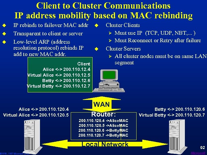 Client to Cluster Communications IP address mobility based on MAC rebinding u u u