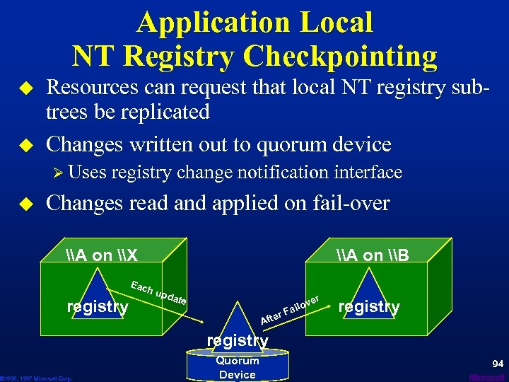 Application Local NT Registry Checkpointing u u Resources can request that local NT registry