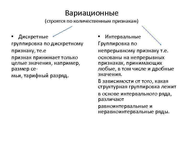 Вариационные (строятся по количественным признакам) • Дискретные группировка по дискретному признаку, те. е признак