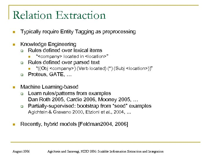 Relation Extraction n Typically require Entity Tagging as preprocessing n Knowledge Engineering q Rules
