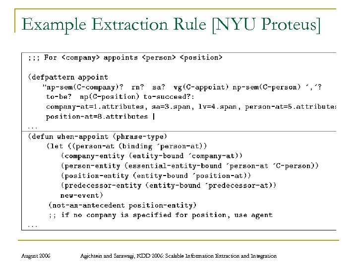 Example Extraction Rule [NYU Proteus] August 2006 Agichtein and Sarawagi, KDD 2006: Scalable Information