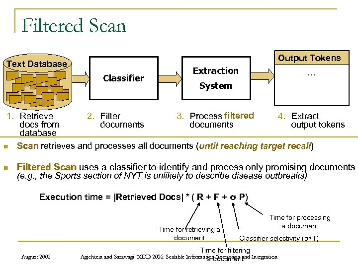 Filtered Scan Output Tokens Text Database Classifier Extraction … System 1. Retrieve 3. Process