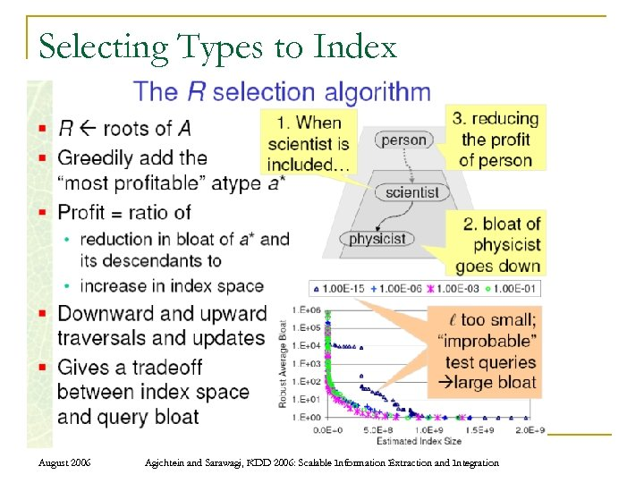 Selecting Types to Index August 2006 Agichtein and Sarawagi, KDD 2006: Scalable Information Extraction