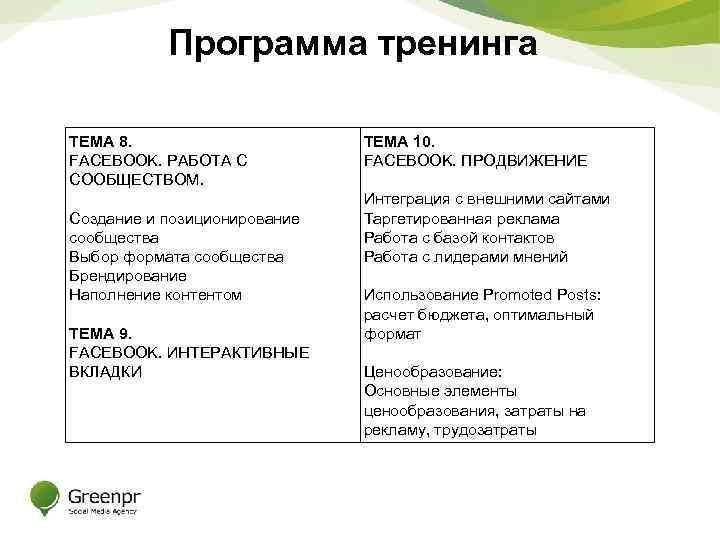Программа тренинга ТЕМА 8. FACEBOOK. РАБОТА С СООБЩЕСТВОМ. Создание и позиционирование сообщества Выбор формата
