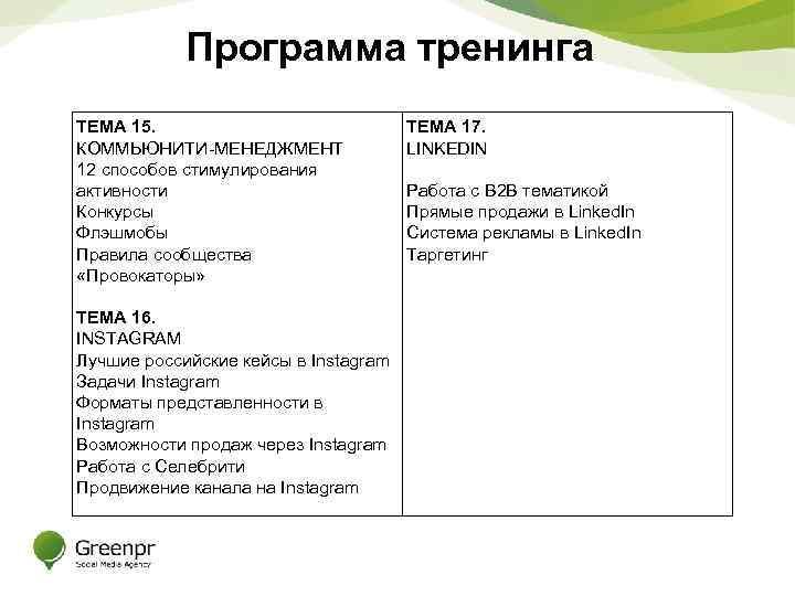 Программа тренинга ТЕМА 15. КОММЬЮНИТИ-МЕНЕДЖМЕНТ 12 способов стимулирования активности Конкурсы Флэшмобы Правила сообщества «Провокаторы»