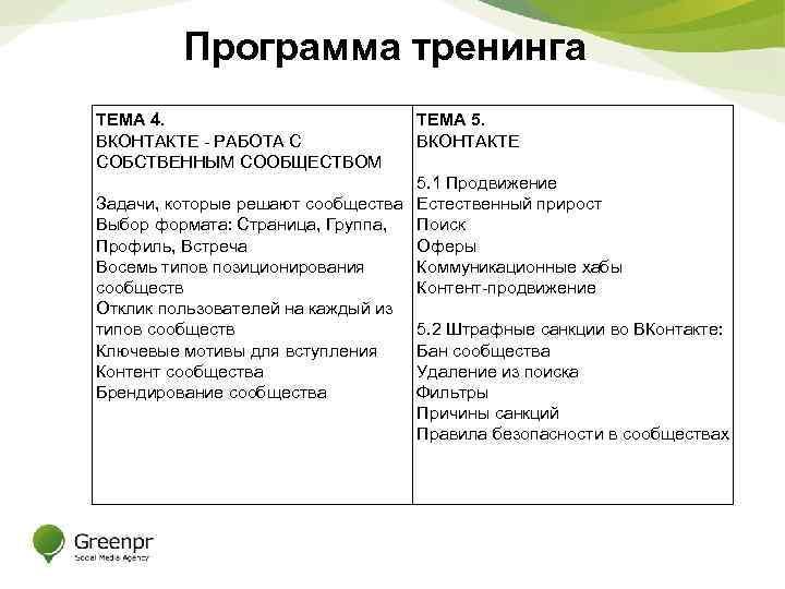 Программа тренинга ТЕМА 4. ВКОНТАКТЕ - РАБОТА С СОБСТВЕННЫМ СООБЩЕСТВОМ ТЕМА 5. ВКОНТАКТЕ 5.