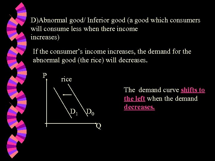 D)Abnormal good/ Inferior good (a good which consumers will consume less when there income