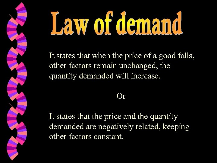 It states that when the price of a good falls, other factors remain unchanged,