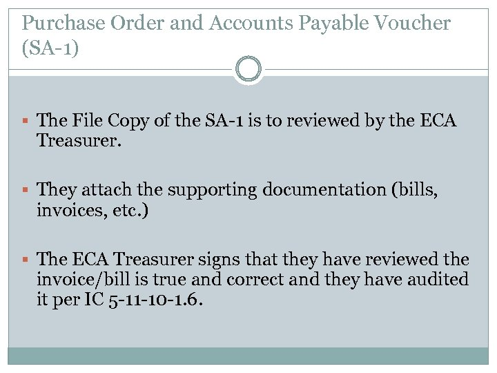 Purchase Order and Accounts Payable Voucher (SA-1) § The File Copy of the SA-1