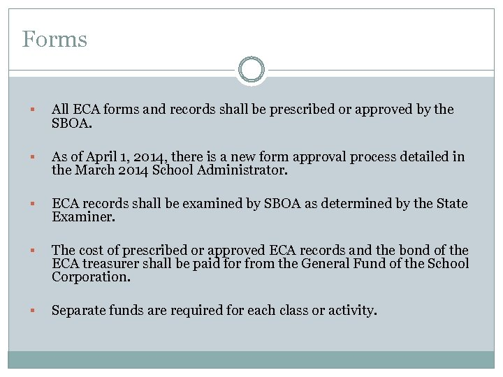 Forms § All ECA forms and records shall be prescribed or approved by the