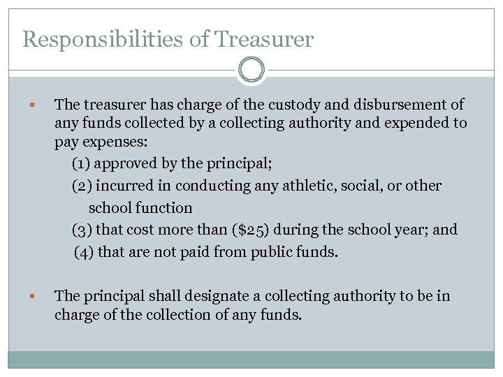 Responsibilities of Treasurer The treasurer has charge of the custody and disbursement of any