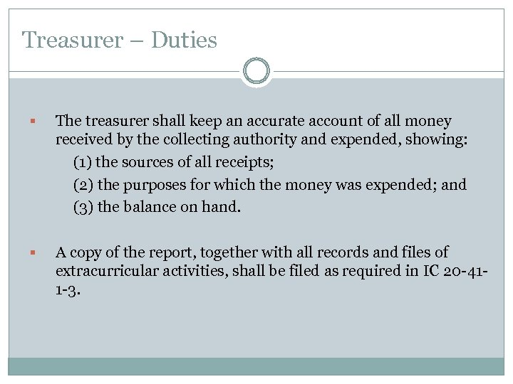 Treasurer – Duties The treasurer shall keep an accurate account of all money received